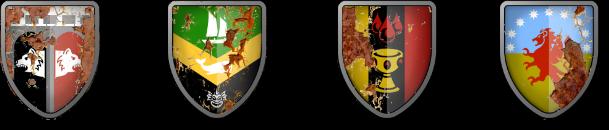 Die Stadtwappen von Baerenburg, Grimmenhafen, Ravinyek und Valancia
